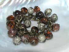 Estate Shades of Brown Plastic Beaded Bronze Curb Link Bracelet w Extender Chain