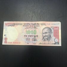 Lot Of Ten (10) Individual Indian Rupee 1,000 Note, Foreign Currency, Circulated
