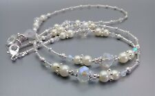 Spectacle Sunglasses Eyewear Beaded Chain - White Pearl & Crystal