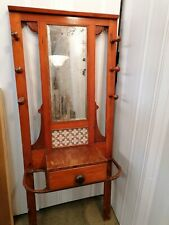 More details for antique victorian hall stand with wedgewood tiles and mirror. vintage / retro