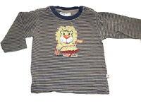 Tolles Langarm Shirt Gr. 68 beige-blau gestreift mit Löwenmotiv !!