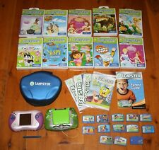 Huge Lot LEAPSTER 2 Systems Pink Green 1 Case 23 Games Many Cases Booklets WORKS
