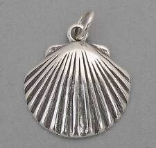 New SCALLOP CLAM SEASHELL Nautical Sterling Silver Charm Pendant 2387