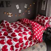 Red Heart Printing Bedding Set Duvet Quilt Cover+Sheet+Pillow Case Four-Piece
