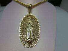 "Charm W/ 18"" 4 Mm Rope Chain -7501 14 Kt Gold Ep (3 1/2"") Madonna Virgin Mary"
