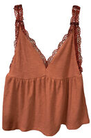Umgee Women's Large Deep V-Neck Tank Top Rust Crochet Lace Trim Ribbed Knit NWT