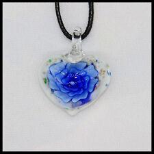 Fashion Women's heart lampwork Murano art glass beaded pendant necklace #A26