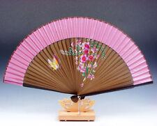 Chinese Flowers & Butterfly Folding Fan Hand Fan Wall Decor w/ Stand #06111604