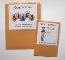 2 Teacher Made Literacy Center Common Core Resources Contractions Learning Games