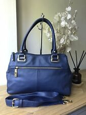 Tignanello navy blue genuine leather medium handbag tote shoulder bag