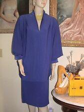 Fabulous purple crepe vintage 1980s Saks Fifth Avenue bat sleeve cocoon dress 12