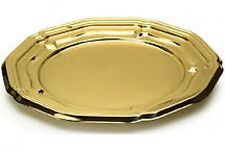 5 x Strong Plastic Gold Round Platters / Trays - Medium