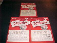 1953 ATHLETICS PROGRAM LOT 3 DIFFERENT EX-MT