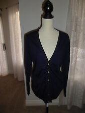 NEW BANANA REPUBLIC Size L Navy button down 100% Wool cardigan Sweater