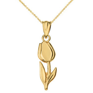 Solid 10k Yellow Gold Diamond Cut Tulip Pendant Necklace