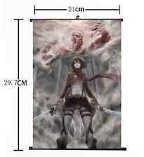 Hot Japan Anime Attack on Titan Survey Corp Mikasa Home Decor Poster Wall Scroll