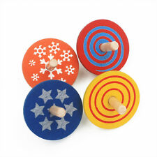 4 Piece/Set Wooden Spinning Top Classic Toys Kids Early Educational Toy