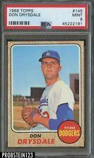 "1968 Topps #145 Don Drysdale Los Angeles Dodgers HOF PSA 9 "" SHARP CORNERS """