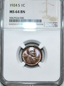 NGC MS-64 BN 1924-S Lincoln Cent, Beautiful, Glossy, nearly Red-Brown specimen!