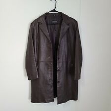 Adler Collection Women's Long Genuine Leather Jacket Brown Size XL