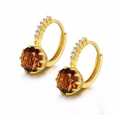 24k yellow gold filled round cut smoky 9mm Topaz hoop leverback party earring