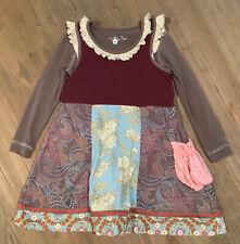 RARE Matilda Jane Gypsy Blue Maya Tank Dress & Cocoa Tee Girls Size 6 HTF