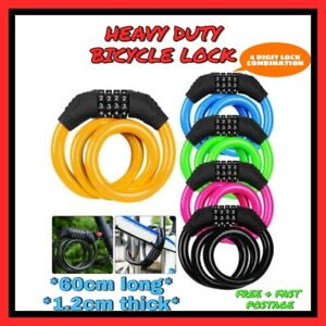 New Combination Bike Lock Strong Heavy Duty Cycle Security Bicycle Locks 60CM UK