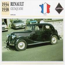 1934-1938 RENAULT CELTAQUATRE Classic Car Photograph / Information Maxi Card