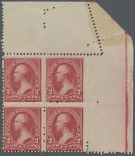 Scott 249, NH EFO top right corner block of four with diagonal foldunder