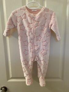 Next UK Pink Star Fleece Footed Zip Sleeper Baby Girls Size 3-6 Months NWT