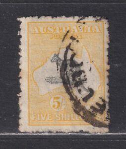 Australia SG 42 Scott 54 Used 1918 5/- Kangaroo 3rd Watermark CV £110