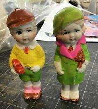 Lot of 2 Vintage Small Bisque China Dolls Made In Japan Male and Female