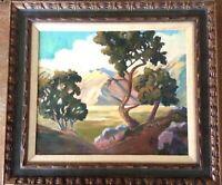 E Forrest CA landscape painting 28 x 32 matted framed signed