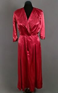 VTG Women's 40s Maroon / Red Rayon Satin Housedress / Nightgown Sz L 1940s Dress