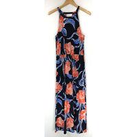 Gap Womens size Medium Blue Orange Floral Long Maxi Dress Sleeveless Halter
