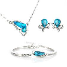 Womens Wedding Jewelry Set Crystal Rhinestone Butterfly Pendant Necklace Earring