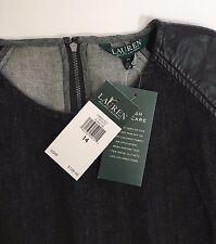 Ralph Lauren Black Denim Delance Sheath Dress Leather Cap Sleeve 14 NWT $149