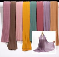 Chiffon Solid Crinkle Shawls Crumple Bubble Scarf Headband Hijab Muslim Scarves