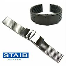 STAIB Germany 4.1 x 20mm Mesh Milanaise Bracelet ― PUSHER FL DIVER BUCKLE