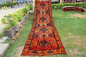 COLLECTORS' PIECE ANTIQUE TRIBAL NOMADIC RUNNER,BEAUIFUL NATURAL SAFFRON DYE RUG