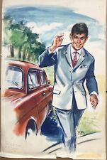 Peinture Gouache Dessin Original Yvette Briclot-Baudry homme voiture YBB 21