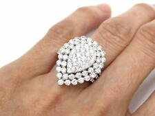 2.75 TCW PEAR SHAPED ROUND BRILLIANTS DIAMOND CLUSTER RING 18KT WHITE GOLD