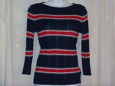CHAPS Womens Size PXL Sweater Striped Linen Blend Petite NEW