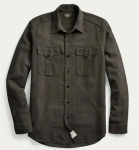 $298 RRL Ralph Lauren Large Shirt Dobby Black Polo Cotton Linen Military GI Work