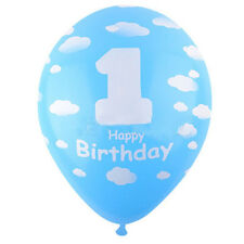 5PCS Blue Birthday Latex Ballons For Baby Kids Girl Boy 1st First Birthday Party