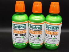 LOT OF 3 BOTTLES!  TheraBreath Fresh Breath, Oral Rinse, Mild Mint, 16 fl oz