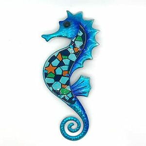 Seahorse Colorful Wall,Indoor/Outdoor Hanging,Metal & Glass,Art For Home Decor