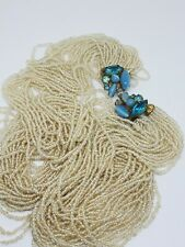 Bead Necklace Blue Rhinestone Closure Vintage Multi Strand Clear Glass Seed