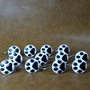 "Paw Print Shower Curtain Closet Hooks 12 Piece Hangers 1.5"" Round Black White"