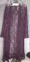 NEW ~ M Purple Sheer Lace Open Cardigan Duster Jacket